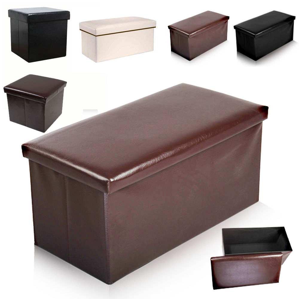 Foldable Faux Leather Ottoman Storage Pouffe Toy Box